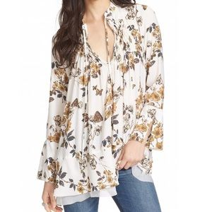 Free People | Floral Butterfly Print Smock Tunic